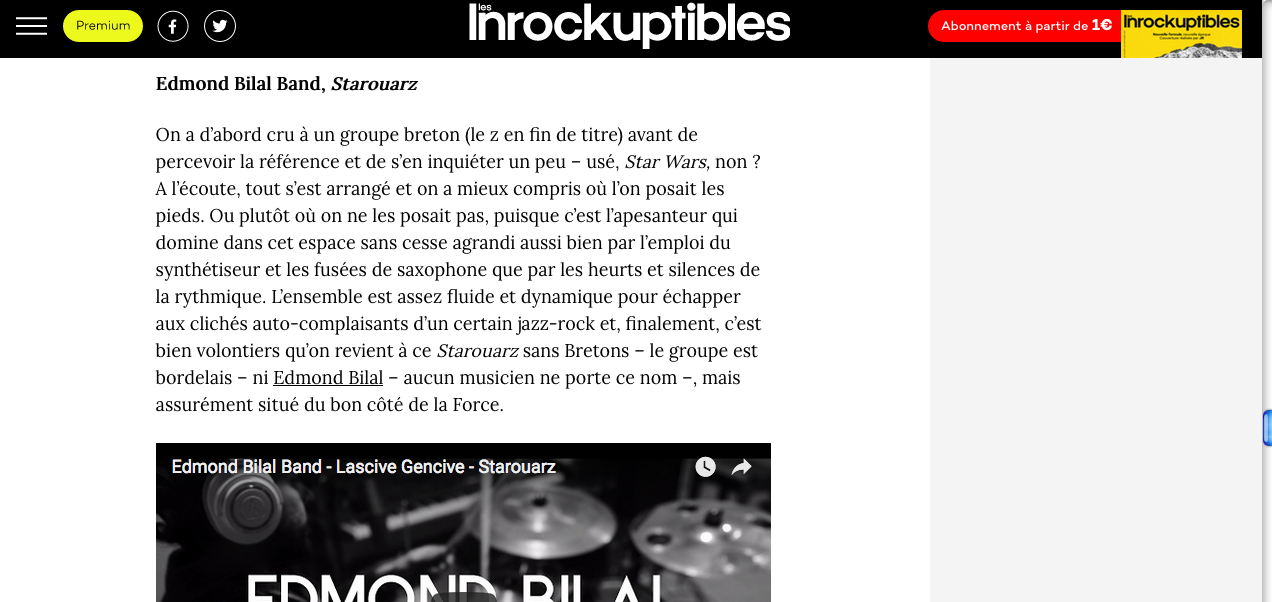 Starouarz, Top 10 des Inrocks
